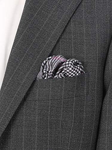 (ザ・スーツカンパニー) MADE IN ITALY/グレンチェック&ハウンドトゥース柄 シルクポケットチーフ ブラック×ライトグレー×パープル