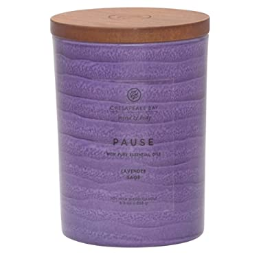 Chesapeake Bay Candle Mind & Body Serenity Scented Candle, Pause with Pure Essential Oils (Lavender and Sage), Medium