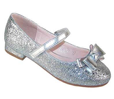 1709e9ae16 The Sparkle Club Girls Children Sparkly Glitter Low Silver Heeled Party and  Occasion Mary Jane Shoes
