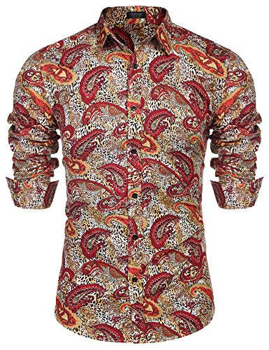 COOFANDY Men's Fashion Hipster Paisley Retro Casual Spring Button Down Shirt