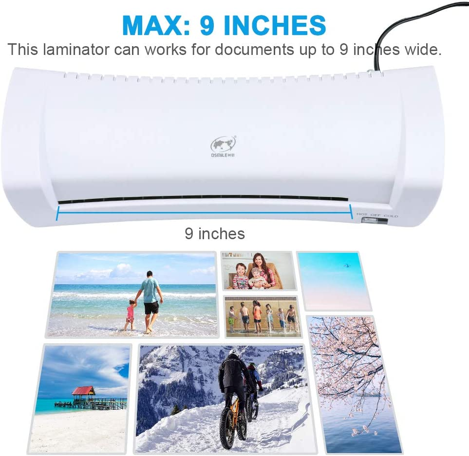 DEBEME A4 Plastifieuse ThermiqueSupport de laminage /à chaud,9 pouces,avec 20 pochettes /à plastifier,blanc