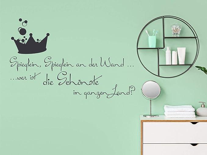 Grazdesign Wandtattoo Wand Spruch Spieglein An Der Wand Badezimmer Wände Mit Aufkleber Gestalten Wc Toilette 47x30cm 071 Grau Küche Haushalt