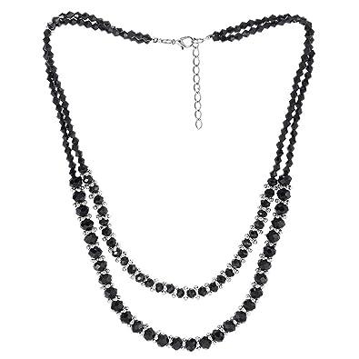 collier argent pierre noire