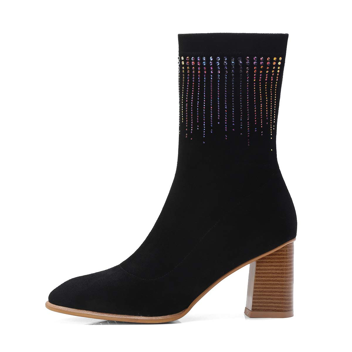 Black Women's Ankle Boots Fashion Rough High Heels Stretch Velvet + Rhinestone Zipper High-top shoes Wedding Party & Evening Formal shoes (color   Brown, Size   37)