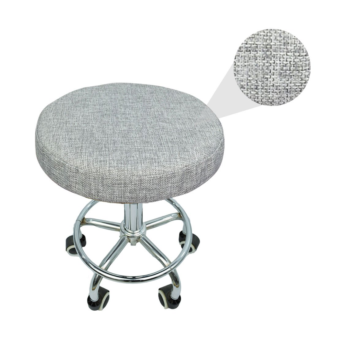 Levoberg Round Stool Cover of linen Bar Stool Cushions with Elastic Chair Slipcover Decor 15.74inch #2