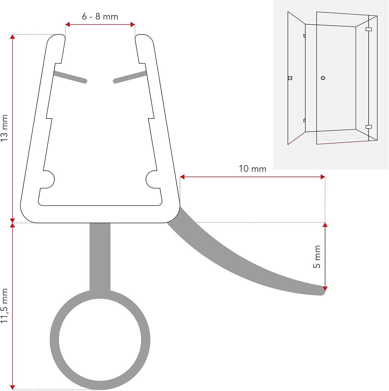 Duschdichtung Gebogen 40cm 400mm f/ür 5mm 6mm 7mm und 8mm 8800 Glasst/ärke Duschdichtung Wasserabweiser Ersatzdichtung Duschprofil Duscht/ürdichtung