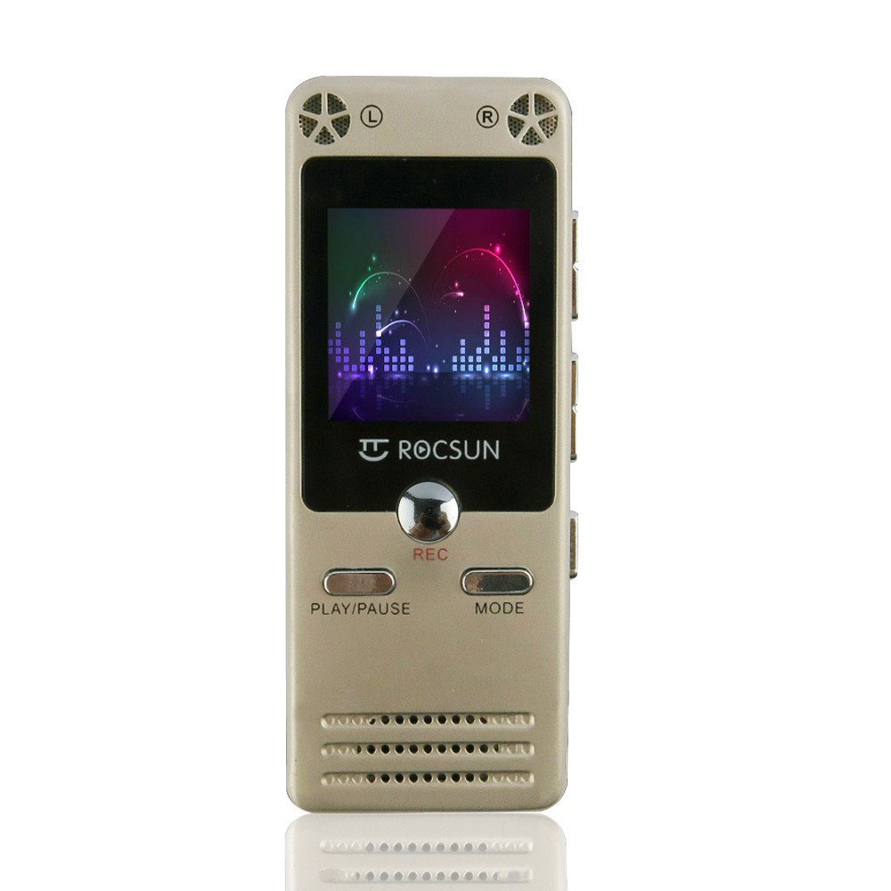 Digital Audio Voice Recorder by ROCSUN, Portable Multifunctional Rechargeable Dictaphone, MP3 Music Player, 8GB Memory Internal, USB port, Dual Microphone, Professional Dynamic Noise Reductio (Golden)