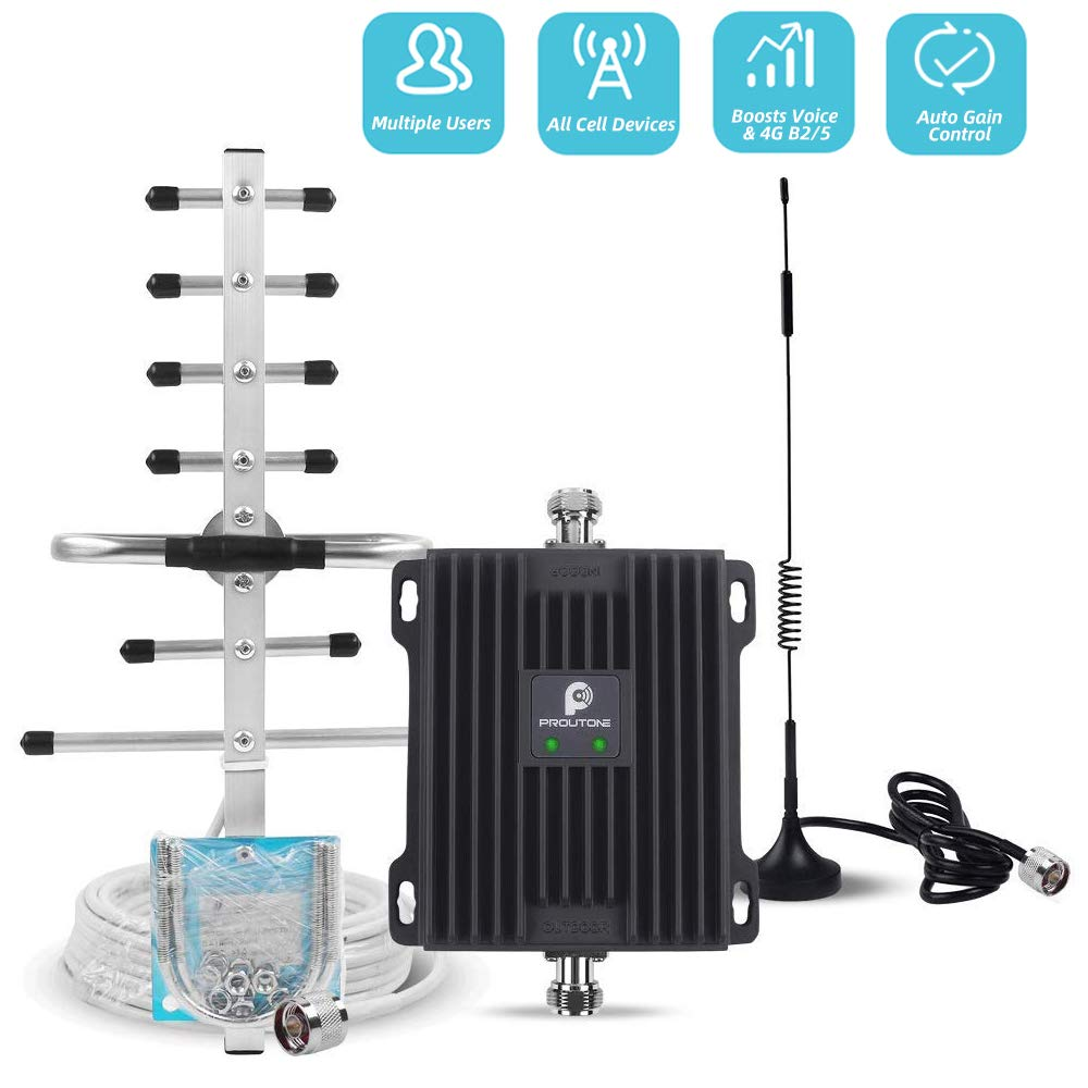 Cell Phone Signal Booster for Verizon AT&T T-Mobile GSM 3G Home Use - Boost Mobile Phone Voice and Text Signal by Dual Band 850/1900MHz Band 2/5 Cellular Repeater Amplifier Kit and Omni/Yagi Antennas by P PROUTONE