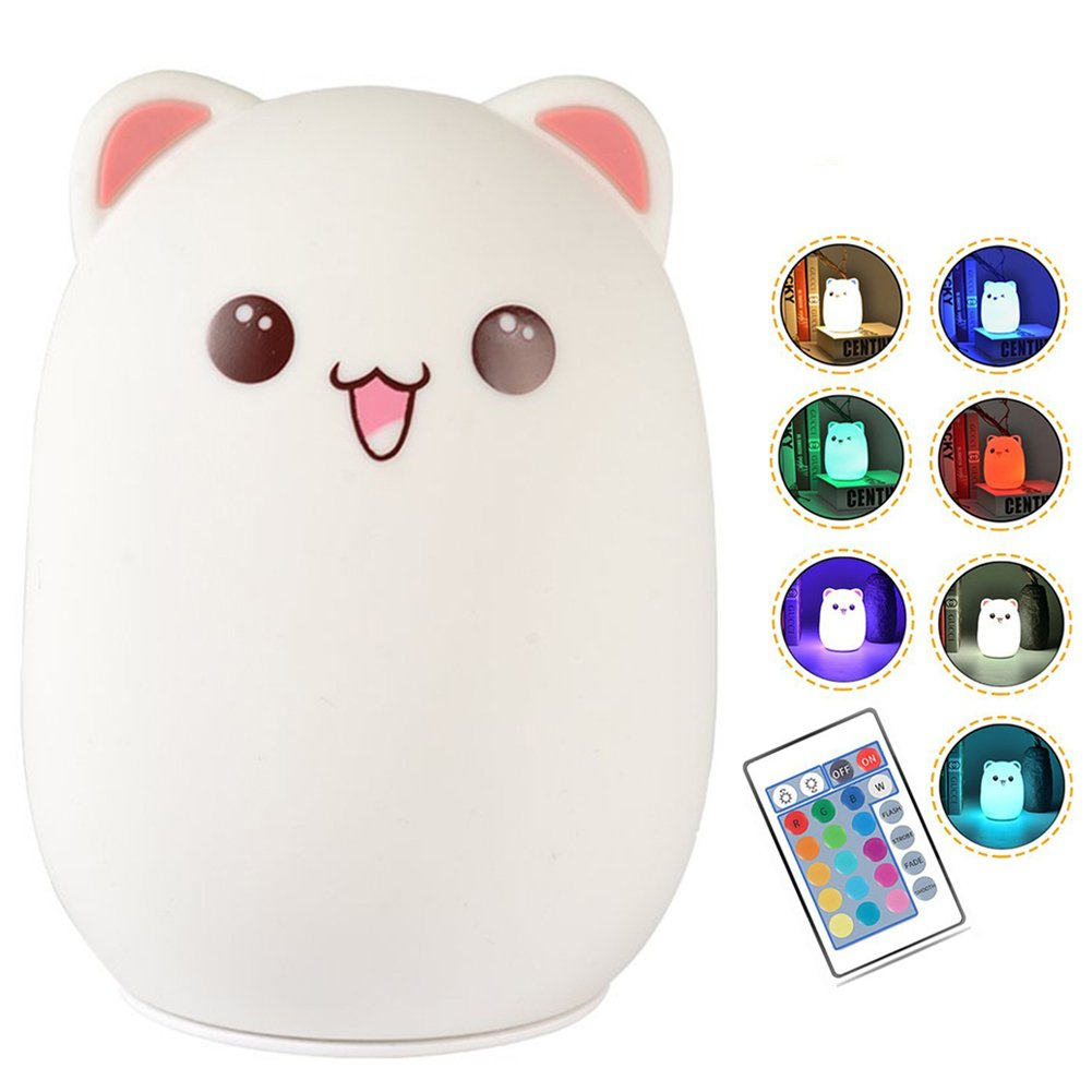 Night Light for Kids, Rechargeable Cute Bear Silicone Baby Nursery Night Light with Touch Sensor and Remote Portable 7 Colors Changing Bright Children Nightlight(Pink)