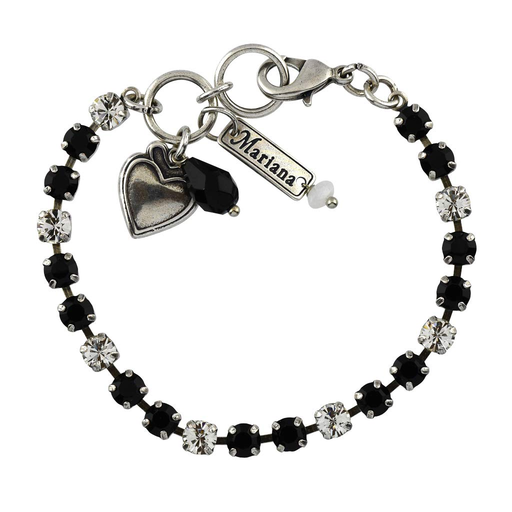 Mariana Jewelry Checkmate Bracelet, Silver Plated with Crystal, Nature Collection MAR-B-4000 280-1 SP