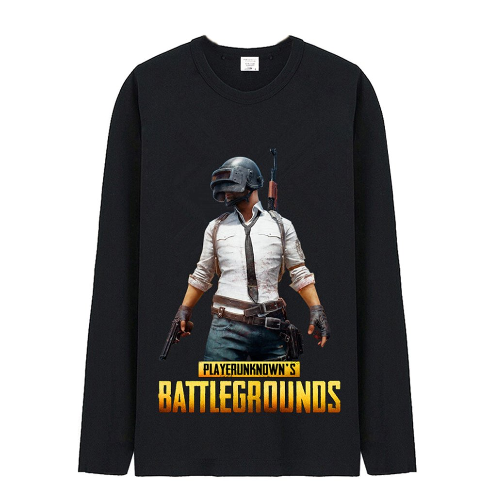 TISEA pubg Mens Cotton T-Shirt and Hoodie Gaming Pullover (US XXL= Asian XXXL, Black 1)