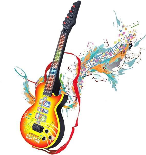 Shayson 4 Cuerdas música eléctrico Guitarra, Guitarra eléctrica niños niños bebé Musical Instrumentos Juguete de Regalo para bebé niño (Amarillo): Amazon.es: Juguetes y juegos