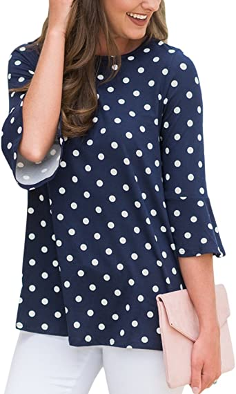 Ladies Navy Top Spotted Blouse Size 8 10 12