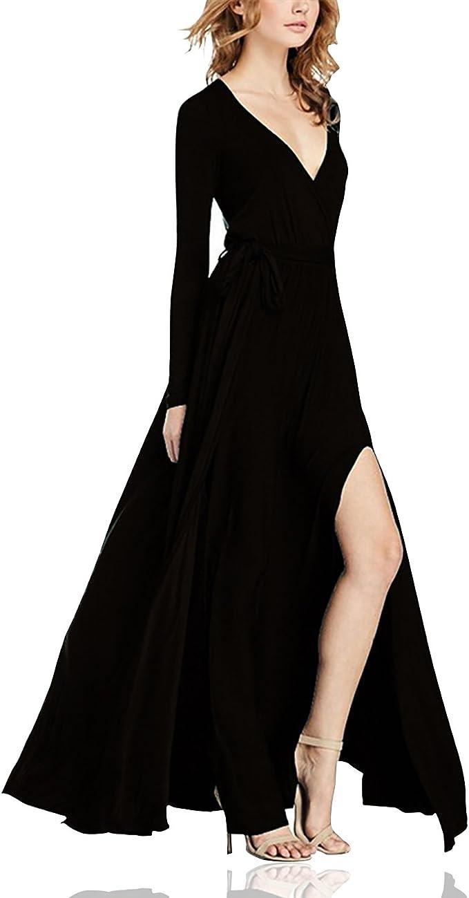 Dolamen Damen Kleider, V-Ausschnitt Elegant Lang Cocktailkleid  Abendkleider, lange ärmel mit A-Linie, perfekt für partei, festlich mit  hochzeit