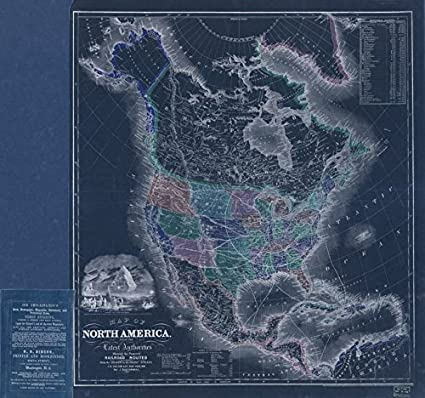 Map Of North America After Planet X.Amazon Com Vintography 18 X 24 Blueprint Style Reproduction A 1854
