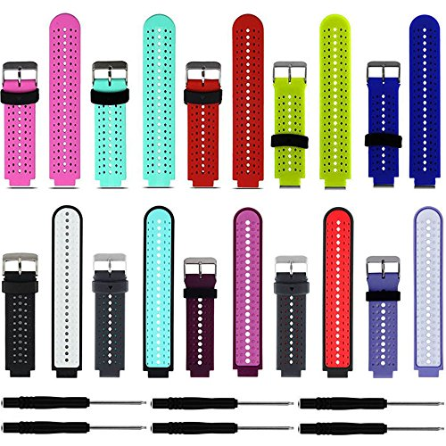 ZSZCXD Soft Silicone Replacement Watch Band for Garmin Forerunner 235/220 / 230/620 / 630/735 Smart Watch (10Pcs)