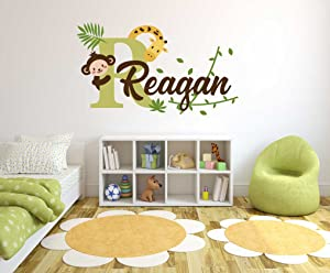 "Custom Name & Initial Giraffe Monkey And Branches - Baby Boy - Nursery Wall Decal For Baby Rom Decorations - Mural Wall Decal Sticker For Home Children's Bedroom (R88) (Wide 32"" x 18"" Height)"