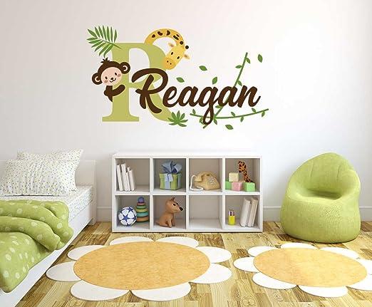 Wall Stickers custom name monkey branch vinyl decal decor Nursery kids removable