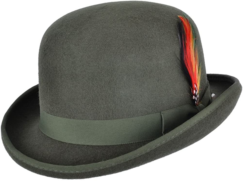 Maz Accessories Wool Felt Bowler Hat with Feather Satin Lined
