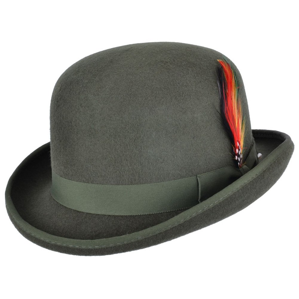 Wool Felt Bowler Hat with Feather - Satin lined BH302