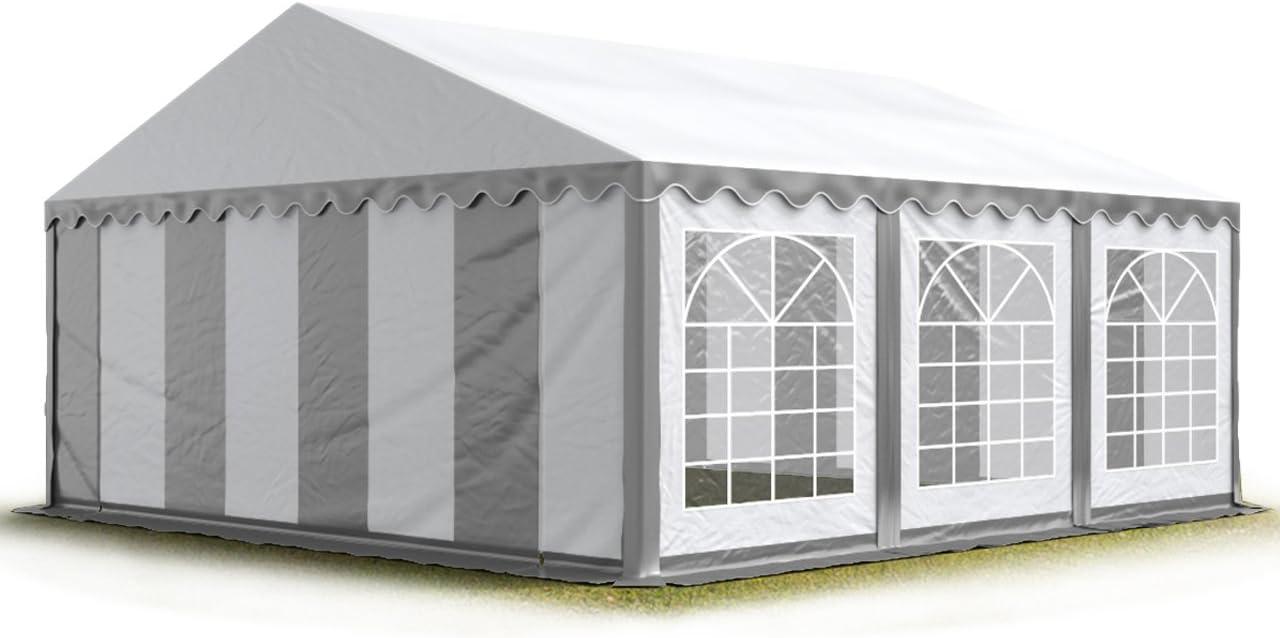 TOOLPORT Carpa para Fiestas Carpa de Fiesta 4x6 m Carpa de pabellón de jardín 500g/m² Lona PVC en Gris-Blanco Impermeable: Amazon.es: Jardín
