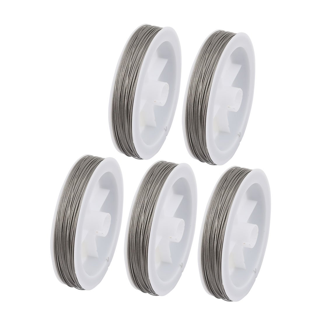 uxcell 5pcs 0.45mm Diameter 100 Meters Long Steel Wire Light Accessory for Crystal Bead
