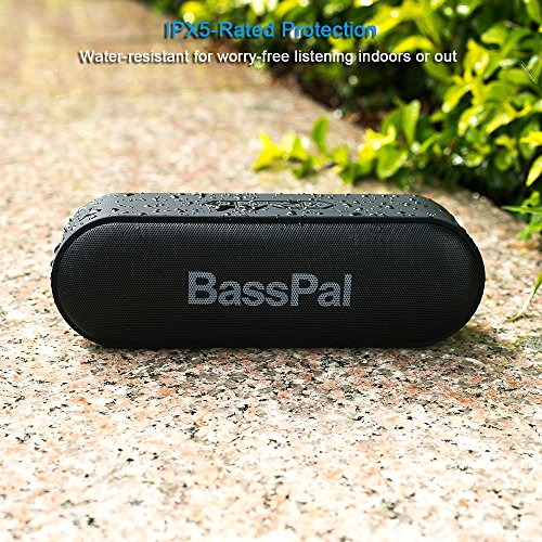 BassPal SoundRo Portable Bluetooth Speaker, 12W Wireless Speaker Lound Stereo Sound, Rich Bass, TF Card Slot, 24-Hour Playtime, 66 ft Bluetooth Range & Built-in Mic Outdoor Home Party Travel Speakers by BassPal (Image #5)