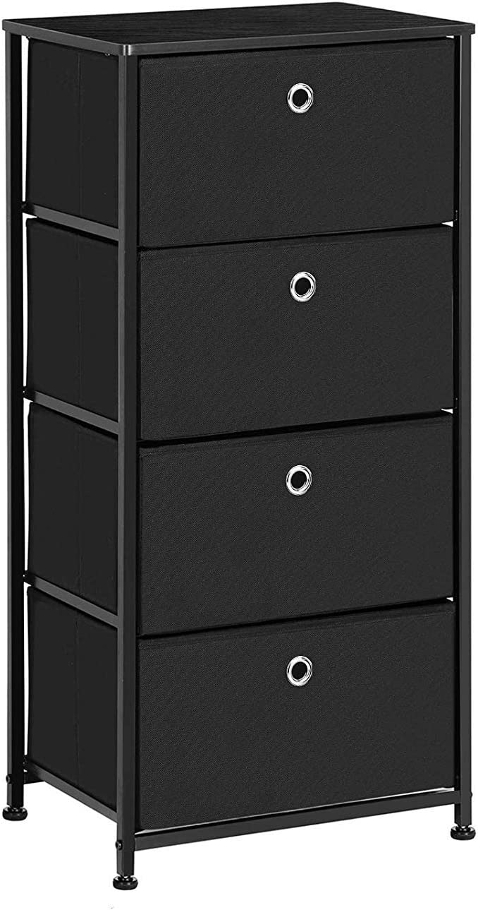 SONGMICS 4-Tier Dresser Drawer Unit, Cabinet with 4 Easy Pull Fabric Drawers, Storage Organizer with Metal Frame and Wooden Tabletop for Living Room, Closet, Hallway, Black ULTS04H