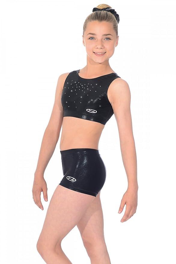 8ceba348cf5c8 The Zone Chic Shiny Nylon Lycra Gymnastics Crop Top with Crystals   Amazon.co.uk  Sports   Outdoors