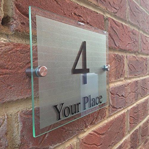 MODERN HOUSE SIGNS GLASS EFFECT ACRYLIC DOOR NUMBER/STREET MEDIUM