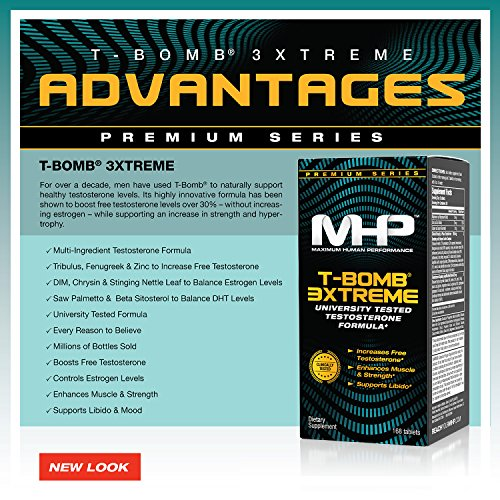 MHP Clinical Strength T Bomb 3xtreme, Five Phase Hormone Optimizing Complex, 168 Count (Packaging May Vary)