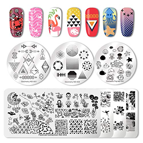 NICOLE DIARY Nail Stamping Plates Halloween Pumpkin Tropical Design Geometry Festival Series Nail Art Image Stencil Stamp Template for Polish Manicure Nail Painting Tools (pack of 7pcs) -