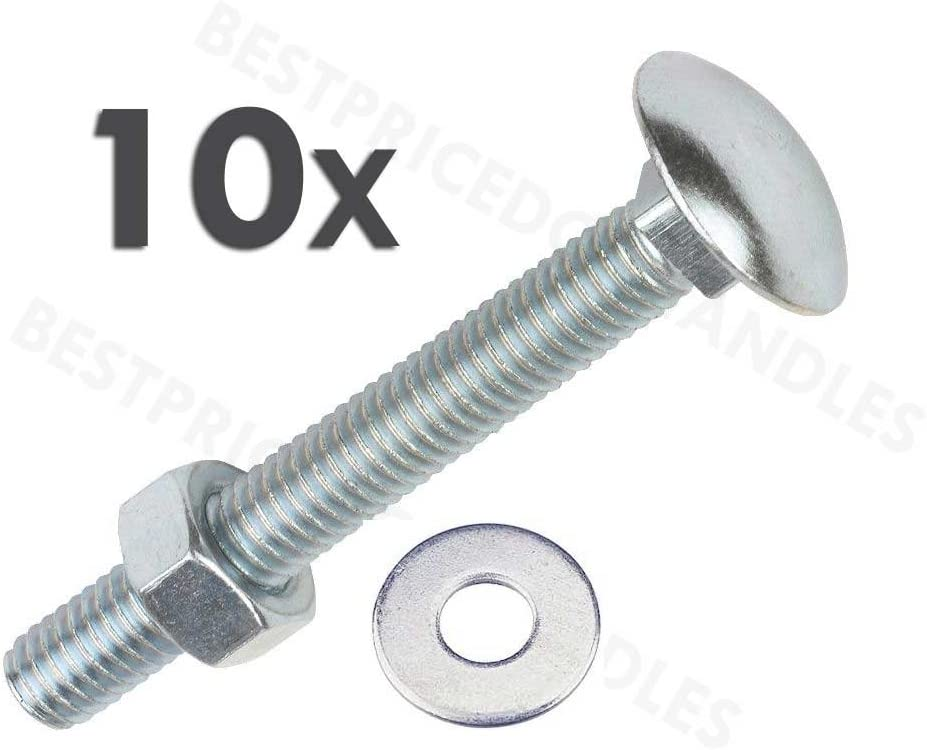 PACK OF 5 x M10 x 70mm PART THREADED HEX HEAD ZINC BOLTS PLUS NUTS /& WASHERS