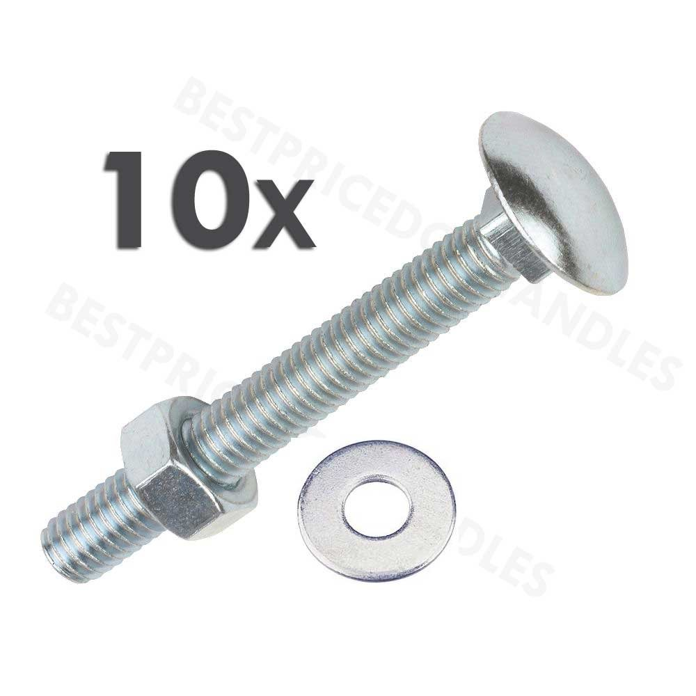 Coach Bolts M6 x 70mm Pack of 10 Carriage Bolts With Hex Nuts and Washers Zinc Plated Cup Square Bolts BZP DIN603 and DIN934 COACHBOLTS