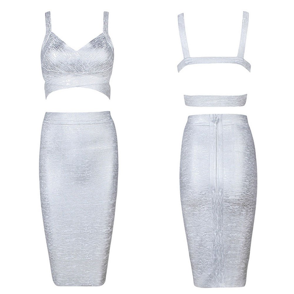 HLBandage Strap Solid Backless Crop Top and Midi Skirt Two Piece Set Bandage Dress