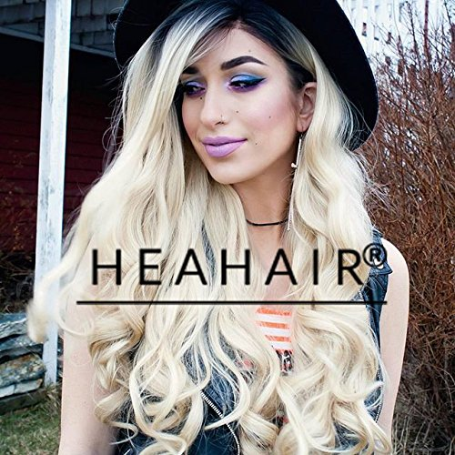 [Heahair Sexy Dark Root Blonde Ombre Body Wave Handited Synthetic Ombre Lace Front Wigs for Party] (Galadriel Costume Uk)