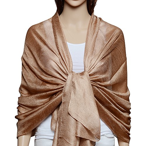 QBSM Womens Solid Large Soft Silk Bridal Evening Wedding Party Dress Wraps Scarfs Shawls Beach Sun Protection Cover Up Coffee (Bridal Silk Dresses)