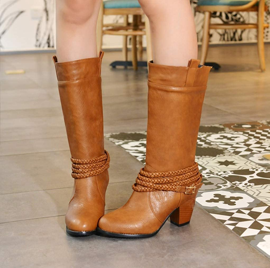 ChyJoey Womens Winter Shoes Pu Leather Knee High Boots