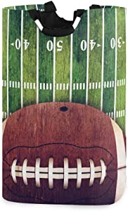 DOMIKING Laundry Storage Basket Grunge American Football Field Laundry Hamper Collapsible Organizer for Kids Room Dirty Cloth Toy Dorm Bag with Handle
