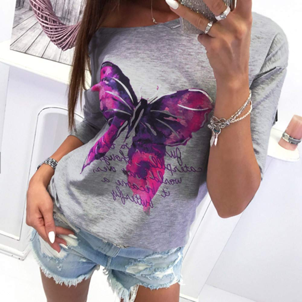 RedBrowm Womens Long-Sleeved Shirt Printed Color Butterfly Round Neck Sweater