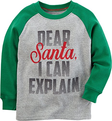 Carter's Boys' 2T-4T Long Sleeve Dear Santa Tee 3T Carters Long Sleeve Raglan Tee