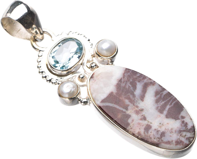 StarGems E0482 - Colgante de plata de ley 925 natural con topacio azul y perla de río