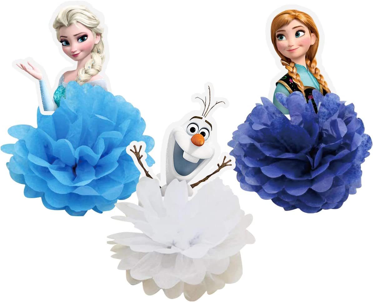 3 Frozen Table Decorations Honeycomb Centerpieces, Elsa Table Decor Olf Birthday Party Supplies, Paper Flowers
