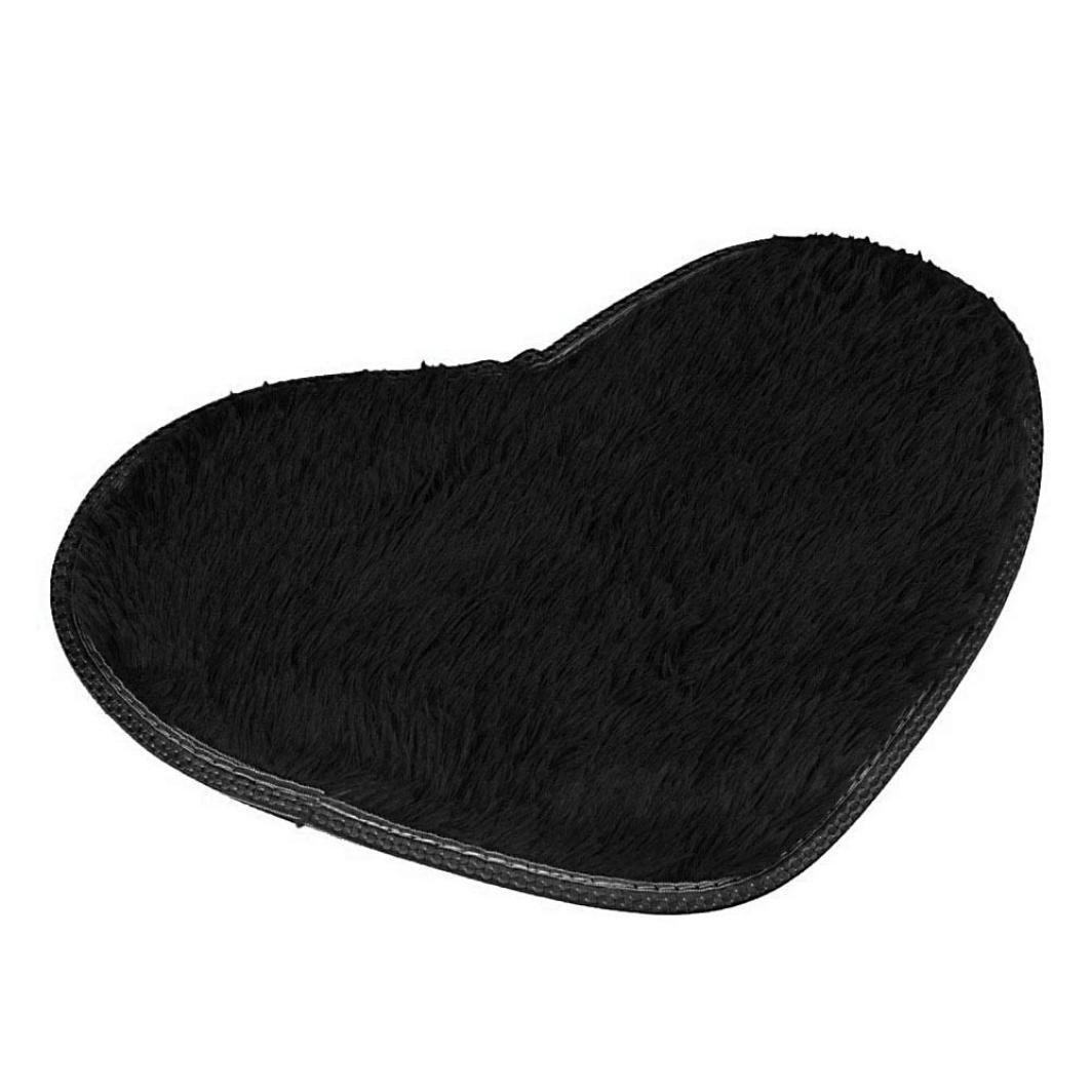 Vacally Non-slip Bath Mats 4028cm Heart-shaped Solid Color Kitchen Bathroom Home Decor Perfect Plush Mats for Tub, Shower, and Bath Room (Black)