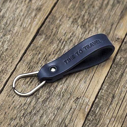 Azul llavero de cuero, anilla personalizada, llavero con monograma, llavero leontina soporte con grabado personalizado, regalo masculino, Latitud Longitud GPS
