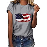 Independence Day US Flag T Shirts Womens Loose