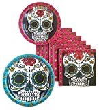Day of the Dead Dia De Los Muertos Sugar Skull Party Supplies Paper Plate and Napkin Bundle of 3 - Service for 16
