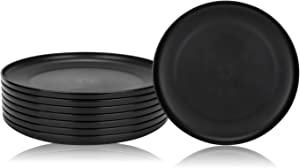 Unbreakable and Reusable 9.75-inches Plastic Dinner Plates, Set of 8 Black, Microwave/Dishwasher Safe, BPA Free (8, Black)