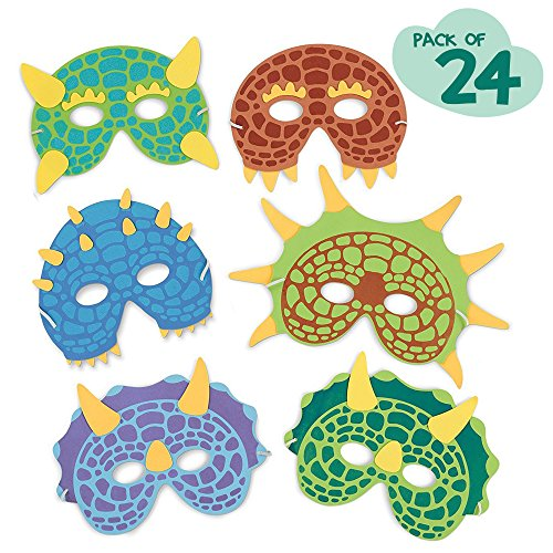 M & M Products Online Dinosaur Birthday Party Supplies: 24 Dinosaur Party Masks - Masquerade and Halloween Dinosaur Face Mask - Foam Dinosaur Mask for Kids Themed Party Favors Decorations and Hats