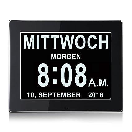 """8 """"LCD reloj digital calendario con fecha, reloj calendario con fecha, día"""